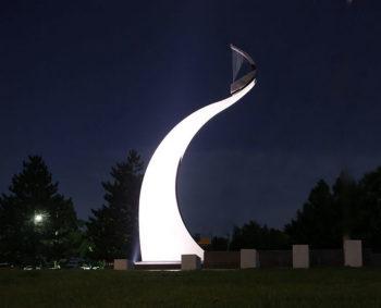 Tornado Memorial wind harp at night